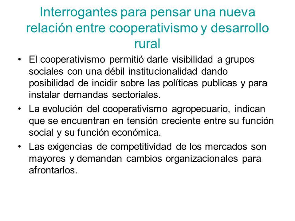 Interrogantes para pensar una nueva relación entre cooperativismo y desarrollo rural El cooperativismo permitió darle visibilidad a grupos sociales co