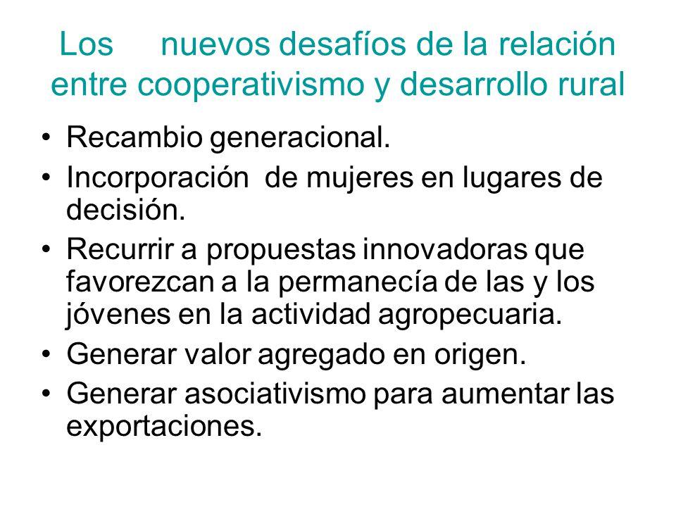 Los nuevos desafíos de la relación entre cooperativismo y desarrollo rural Recambio generacional. Incorporación de mujeres en lugares de decisión. Rec