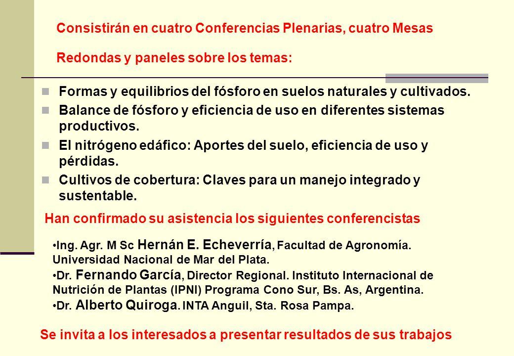 Consistirán en cuatro Conferencias Plenarias, cuatro Mesas Redondas y paneles sobre los temas: Formas y equilibrios del fósforo en suelos naturales y cultivados.
