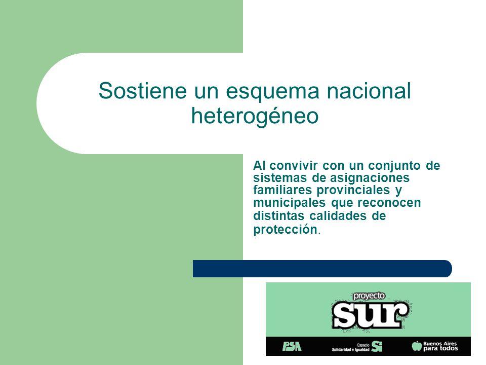 Sostiene un esquema nacional heterogéneo Al convivir con un conjunto de sistemas de asignaciones familiares provinciales y municipales que reconocen distintas calidades de protección.