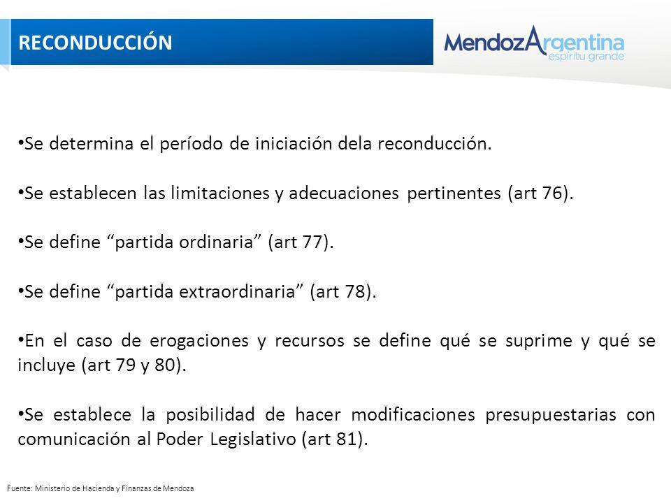 Fuente: Ministerio de Hacienda y Finanzas de Mendoza Se determina el período de iniciación dela reconducción.