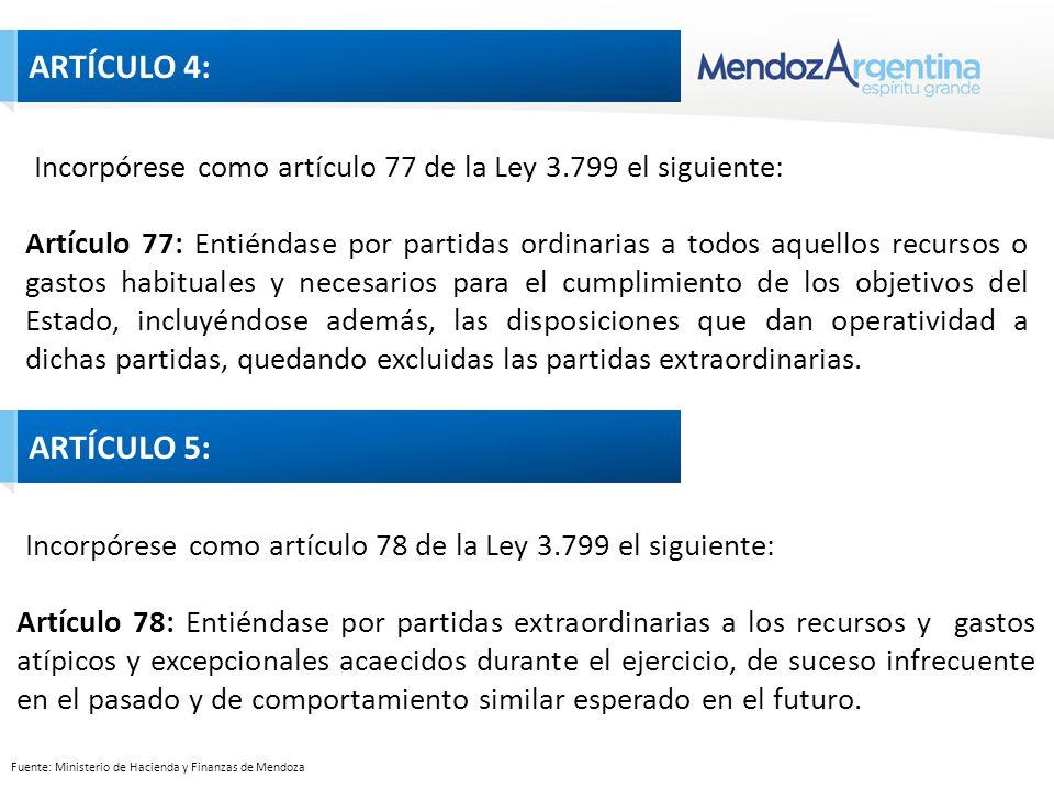 Fuente: Ministerio de Hacienda y Finanzas de Mendoza Incorpórese como artículo 77 de la Ley 3.799 el siguiente: Artículo 77: Entiéndase por partidas ordinarias a todos aquellos recursos o gastos habituales y necesarios para el cumplimiento de los objetivos del Estado, incluyéndose además, las disposiciones que dan operatividad a dichas partidas, quedando excluidas las partidas extraordinarias.