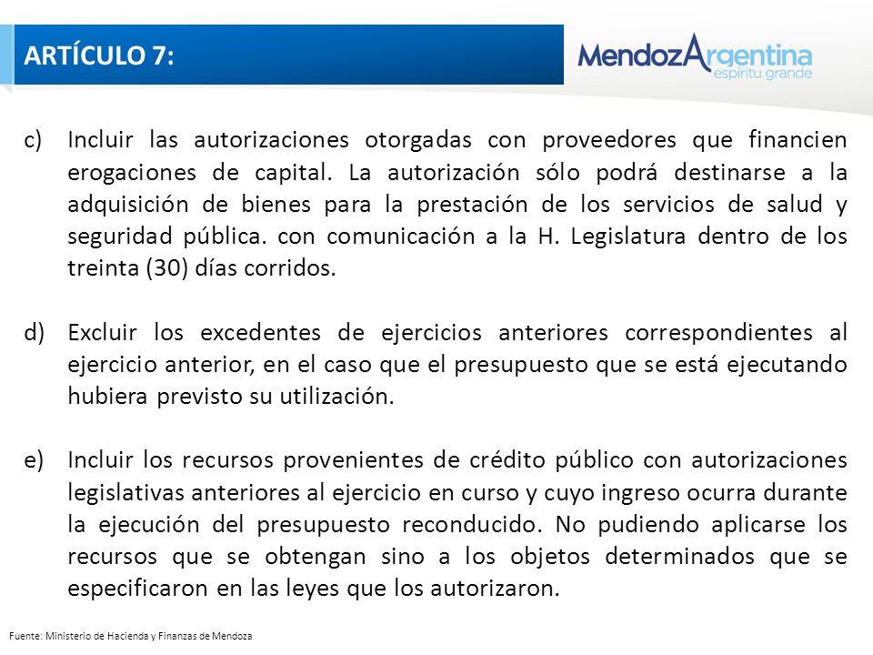 Fuente: Ministerio de Hacienda y Finanzas de Mendoza c)Incluir las autorizaciones otorgadas con proveedores que financien erogaciones de capital.
