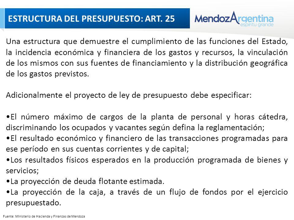Fuente: Ministerio de Hacienda y Finanzas de Mendoza Una estructura que demuestre el cumplimiento de las funciones del Estado, la incidencia económica y financiera de los gastos y recursos, la vinculación de los mismos con sus fuentes de financiamiento y la distribución geográfica de los gastos previstos.