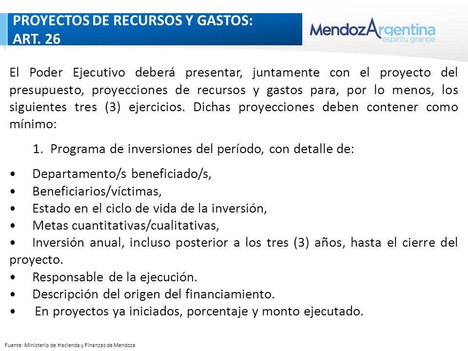 Fuente: Ministerio de Hacienda y Finanzas de Mendoza PROYECCIONES DE RECURSOS Y GASTOS: ART 26 El Poder Ejecutivo deberá presentar, juntamente con el proyecto del presupuesto, proyecciones de recursos y gastos para, por lo menos, los siguientes tres (3) ejercicios.