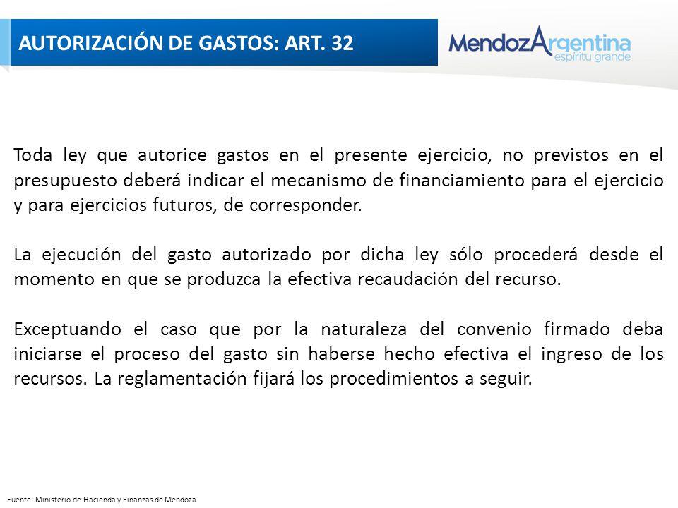 Fuente: Ministerio de Hacienda y Finanzas de Mendoza Toda ley que autorice gastos en el presente ejercicio, no previstos en el presupuesto deberá indicar el mecanismo de financiamiento para el ejercicio y para ejercicios futuros, de corresponder.