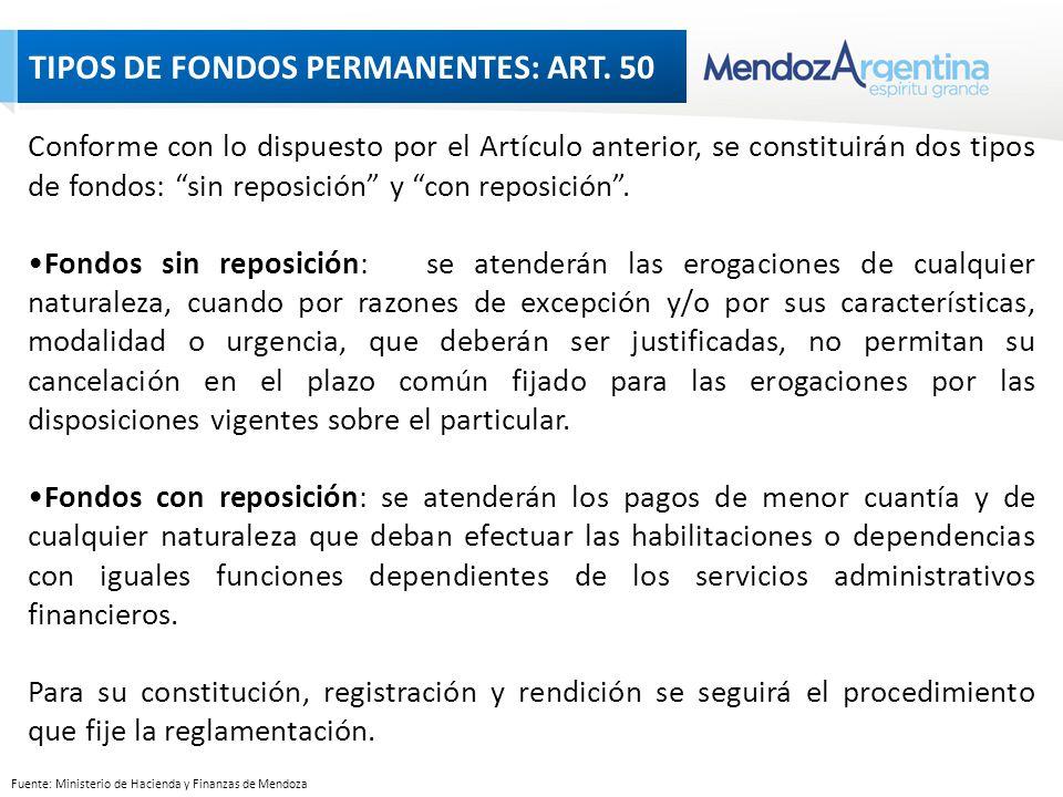 Conforme con lo dispuesto por el Artículo anterior, se constituirán dos tipos de fondos: sin reposición y con reposición.