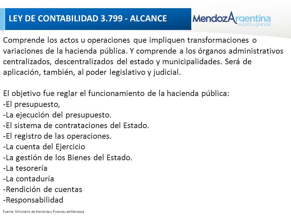 Fuente: Ministerio de Hacienda y Finanzas de Mendoza LEY DE CONTABILIDAD 3.799 - ALCANCE Comprende los actos u operaciones que impliquen transformaciones o variaciones de la hacienda pública.
