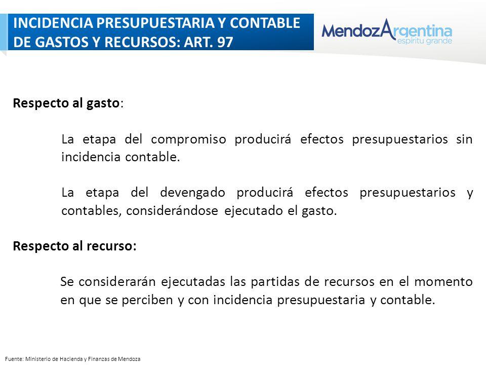 Fuente: Ministerio de Hacienda y Finanzas de Mendoza INCIDENCIA PRESUPUESTARIA Y CONTABLE DE GASTOS Y RECURSOS: ART.