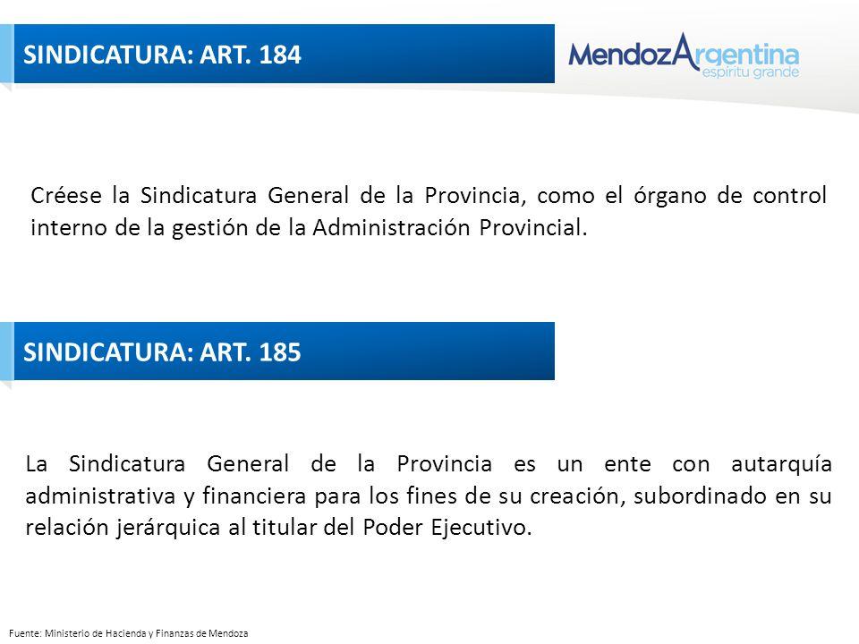 Fuente: Ministerio de Hacienda y Finanzas de Mendoza Créese la Sindicatura General de la Provincia, como el órgano de control interno de la gestión de la Administración Provincial.