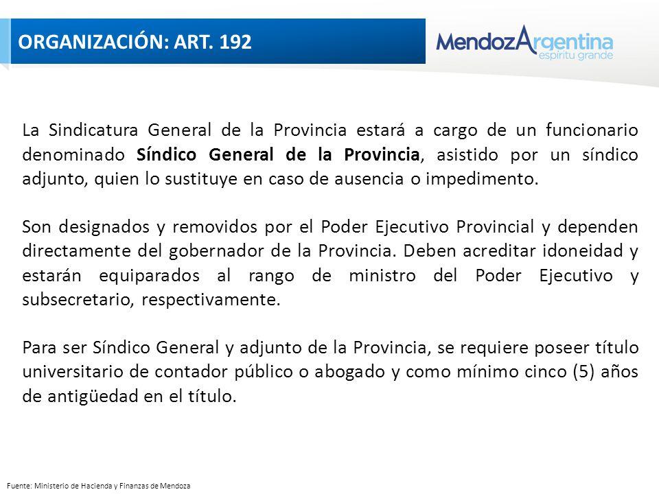 Fuente: Ministerio de Hacienda y Finanzas de Mendoza La Sindicatura General de la Provincia estará a cargo de un funcionario denominado Síndico General de la Provincia, asistido por un síndico adjunto, quien lo sustituye en caso de ausencia o impedimento.