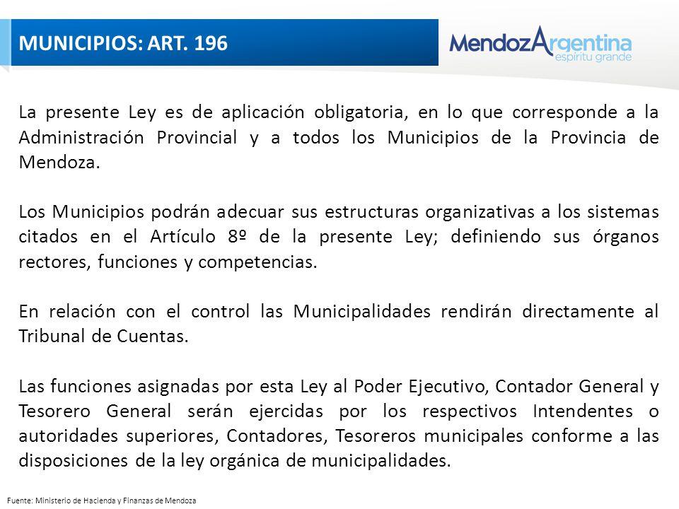Fuente: Ministerio de Hacienda y Finanzas de Mendoza La presente Ley es de aplicación obligatoria, en lo que corresponde a la Administración Provincial y a todos los Municipios de la Provincia de Mendoza.