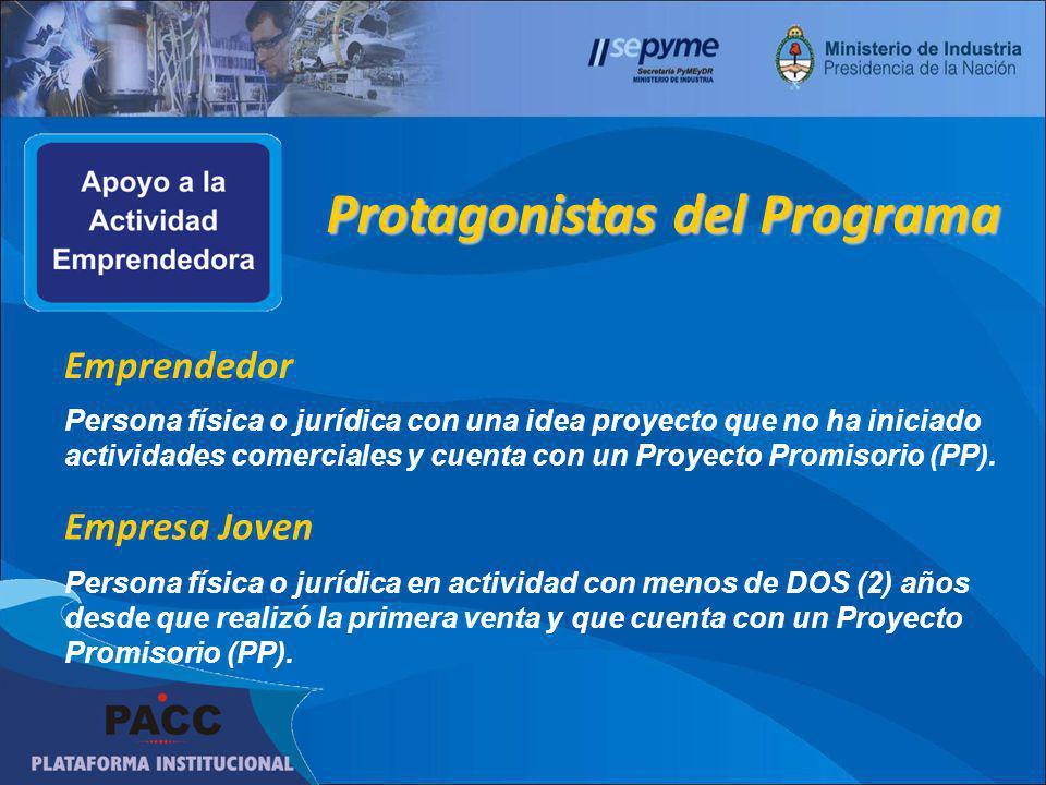 Emprendedor Persona física o jurídica con una idea proyecto que no ha iniciado actividades comerciales y cuenta con un Proyecto Promisorio (PP).