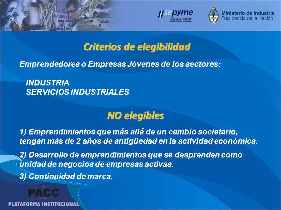 Criterios de elegibilidad Emprendedores o Empresas Jóvenes de los sectores: INDUSTRIA SERVICIOS INDUSTRIALES NO elegibles 1) Emprendimientos que más a