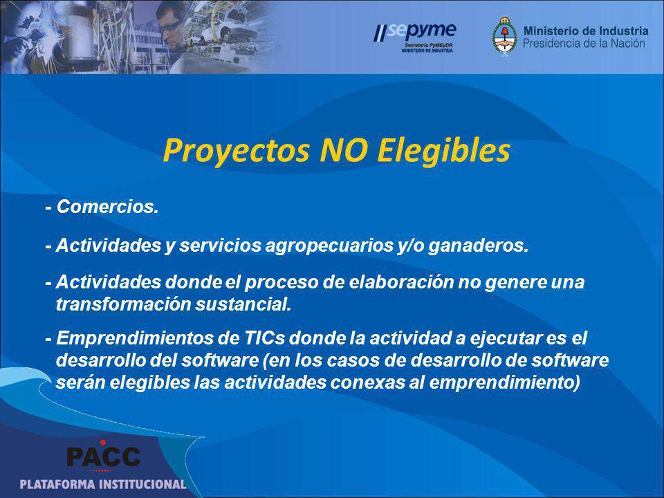 Proyectos NO Elegibles - Comercios. - Actividades y servicios agropecuarios y/o ganaderos. - Actividades donde el proceso de elaboración no genere una