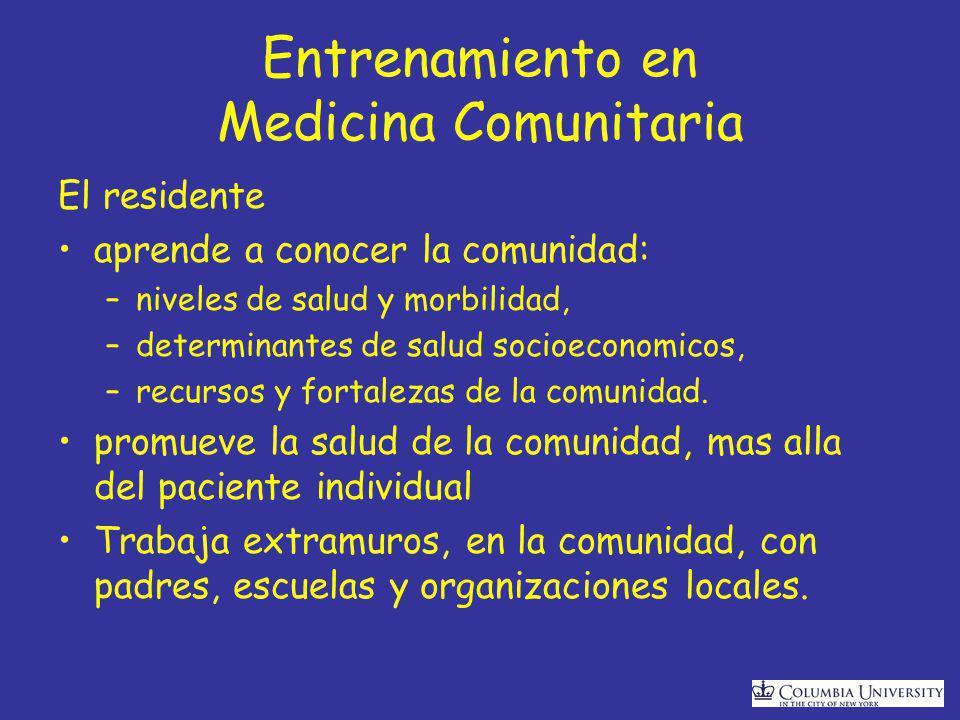 Entrenamiento en Medicina Comunitaria El residente aprende a conocer la comunidad: –niveles de salud y morbilidad, –determinantes de salud socioeconomicos, –recursos y fortalezas de la comunidad.