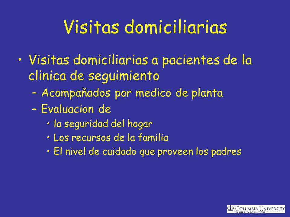 Visitas domiciliarias Visitas domiciliarias a pacientes de la clinica de seguimiento –Acompaňados por medico de planta –Evaluacion de la seguridad del hogar Los recursos de la familia El nivel de cuidado que proveen los padres