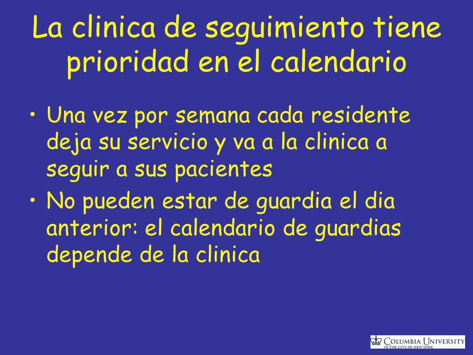 La clinica de seguimiento tiene prioridad en el calendario Una vez por semana cada residente deja su servicio y va a la clinica a seguir a sus pacientes No pueden estar de guardia el dia anterior: el calendario de guardias depende de la clinica