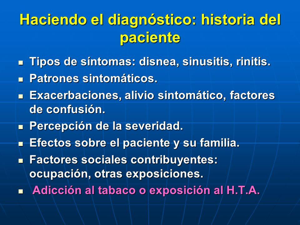 Haciendo el diagnóstico: historia del paciente Tipos de síntomas: disnea, sinusitis, rinitis. Tipos de síntomas: disnea, sinusitis, rinitis. Patrones