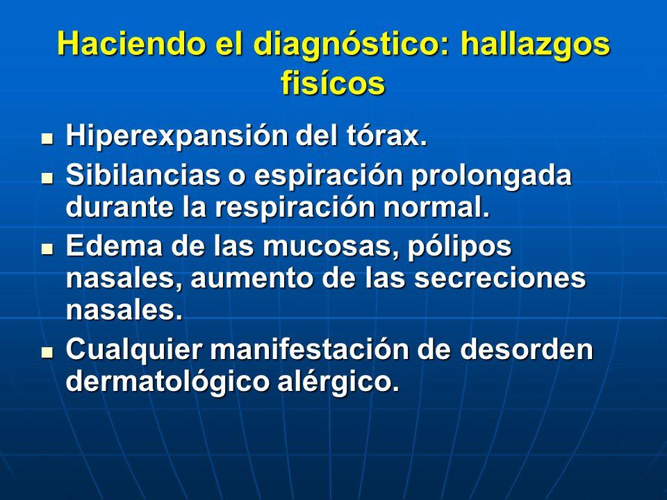 Haciendo el diagnóstico: hallazgos fisícos Hiperexpansión del tórax. Hiperexpansión del tórax. Sibilancias o espiración prolongada durante la respirac