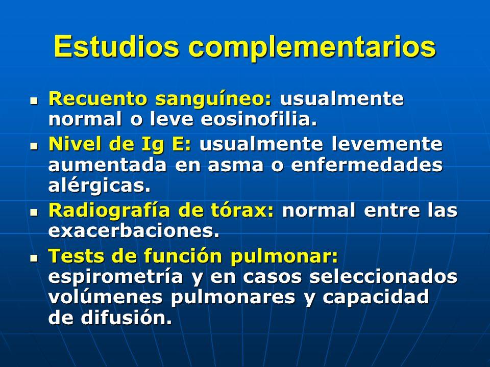 Estudios complementarios Recuento sanguíneo: usualmente normal o leve eosinofilia. Recuento sanguíneo: usualmente normal o leve eosinofilia. Nivel de