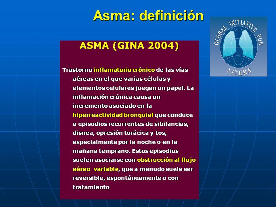 Asma: definición ASMA (GINA 2004) Trastorno inflamatorio crónico de las vías aéreas en el que varias células y elementos celulares juegan un papel. La