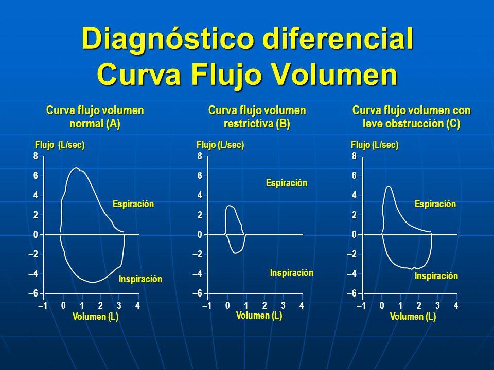 Diagnóstico diferencial Curva Flujo Volumen 8 6 4 2 0 –2 –4 –6 8 6 4 2 0 –2 –4 –6 Flujo (L/sec) –101234 Volumen (L) Espiración Inspiración 8 6 4 2 0 –