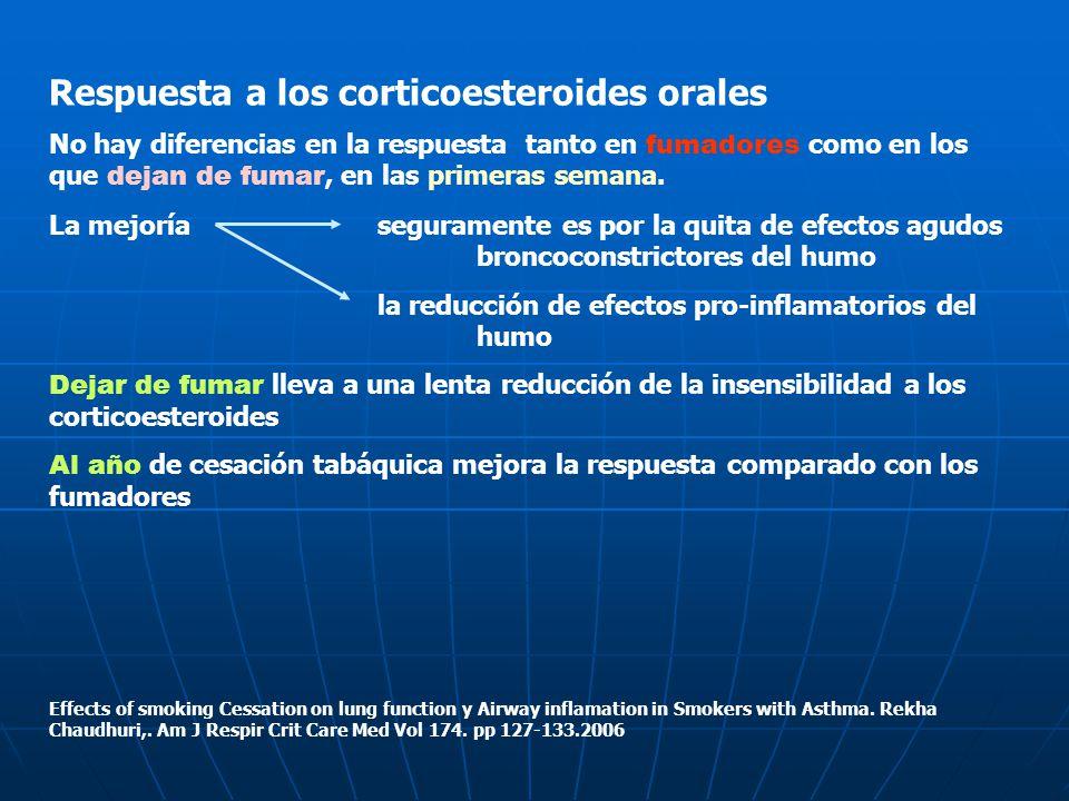 Respuesta a los corticoesteroides orales No hay diferencias en la respuesta tanto en fumadores como en los que dejan de fumar, en las primeras semana.