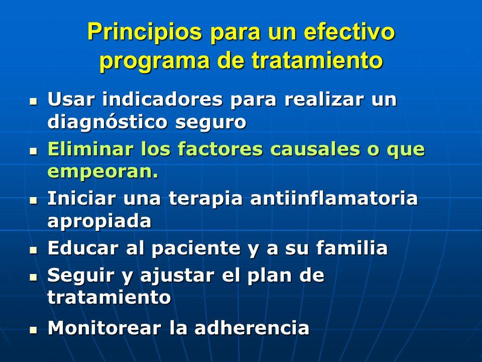 Principios para un efectivo programa de tratamiento Usar indicadores para realizar un diagnóstico seguro Usar indicadores para realizar un diagnóstico