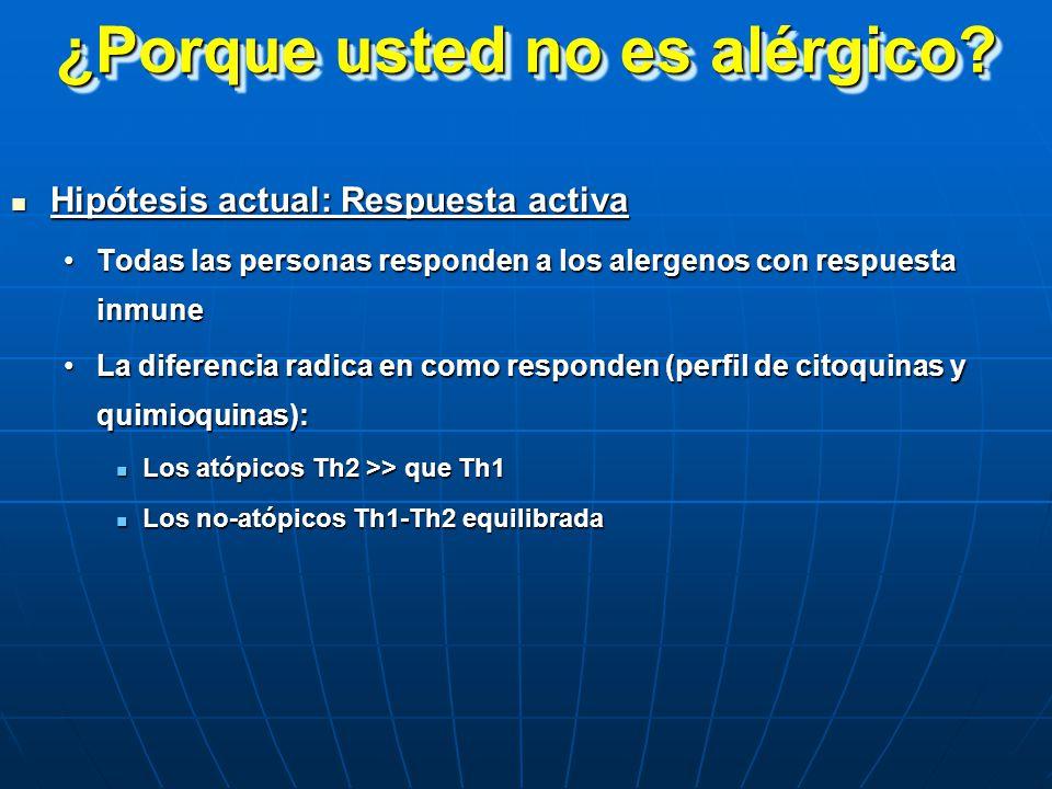 ¿Porque usted no es alérgico? Hipótesis actual: Respuesta activa Hipótesis actual: Respuesta activa Todas las personas responden a los alergenos con r