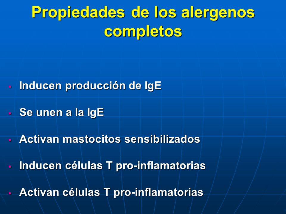 Propiedades de los alergenos completos Inducen producción de IgE Inducen producción de IgE Se unen a la IgE Se unen a la IgE Activan mastocitos sensib