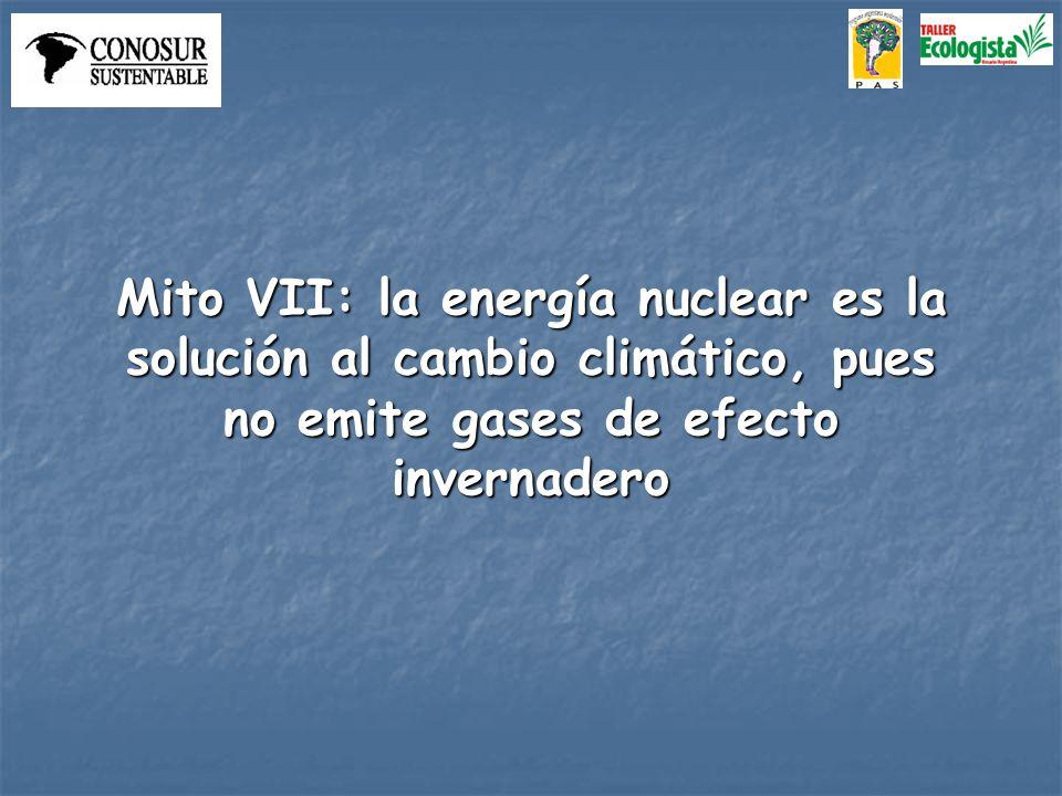 Mito VII: la energía nuclear es la solución al cambio climático, pues no emite gases de efecto invernadero