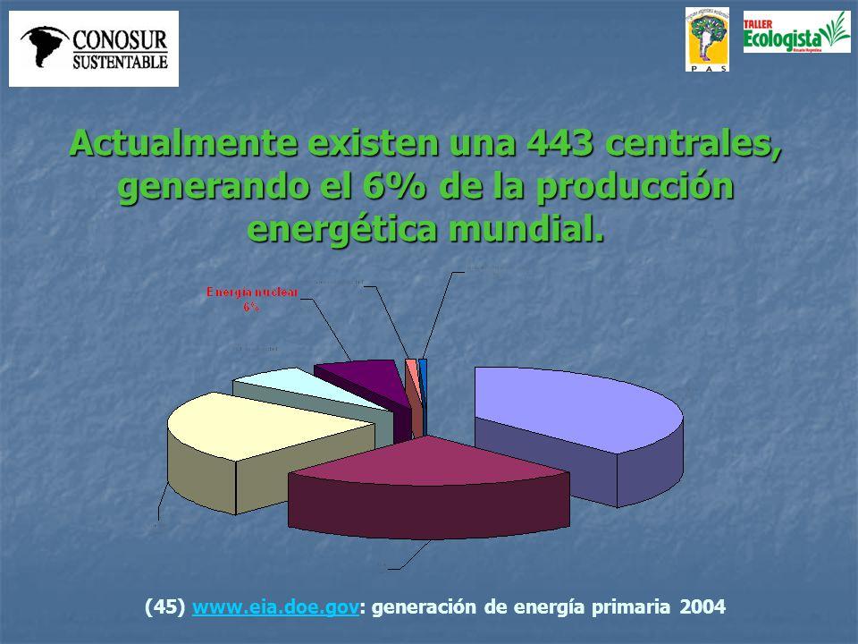 Actualmente existen una 443 centrales, generando el 6% de la producción energética mundial.