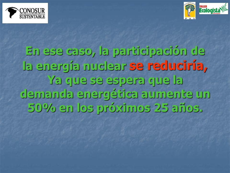 En ese caso, la participación de la energía nuclear se reduciría, Ya que se espera que la demanda energética aumente un 50% en los próximos 25 años.