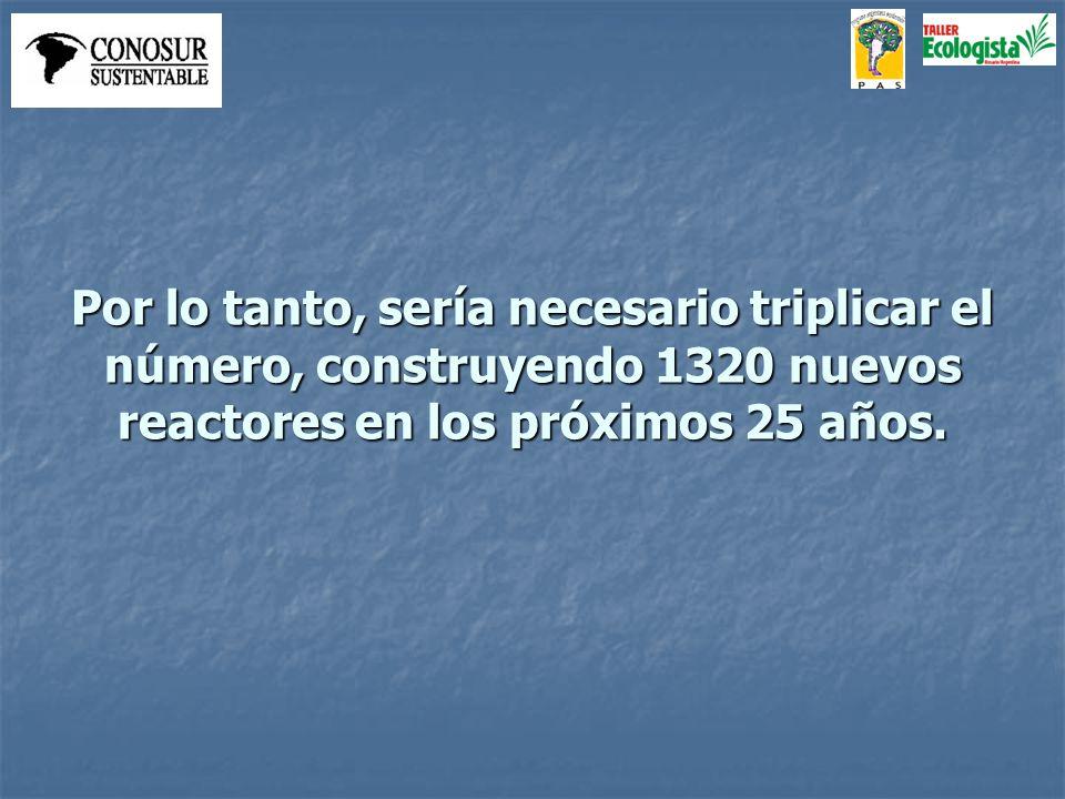 Por lo tanto, sería necesario triplicar el número, construyendo 1320 nuevos reactores en los próximos 25 años.