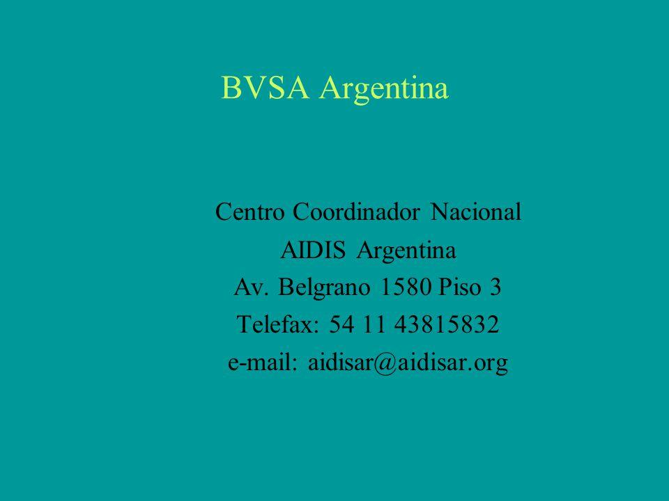 BVSA Argentina Centro Coordinador Nacional AIDIS Argentina Av.