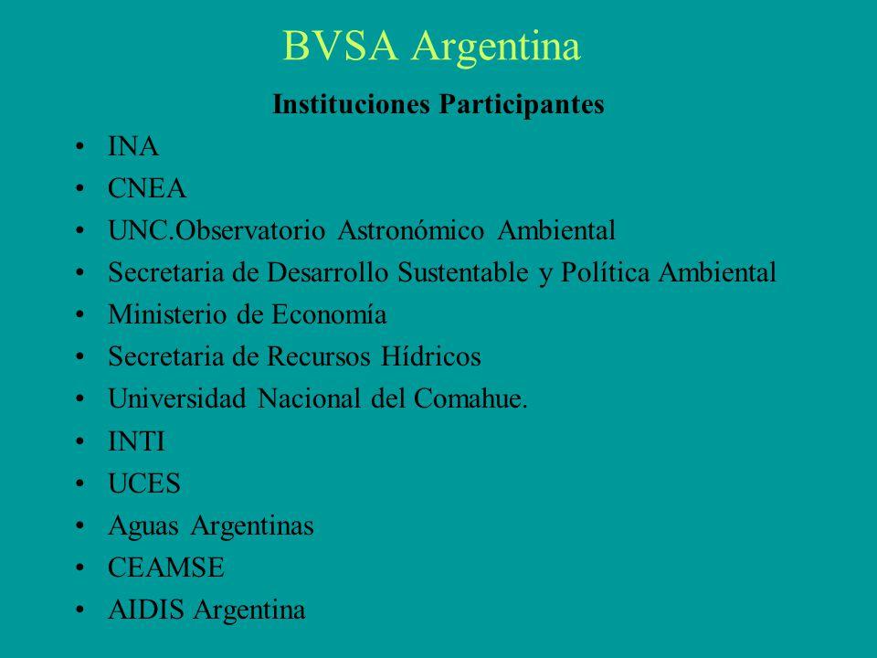 BVSA Argentina Instituciones Participantes INA CNEA UNC.Observatorio Astronómico Ambiental Secretaria de Desarrollo Sustentable y Política Ambiental Ministerio de Economía Secretaria de Recursos Hídricos Universidad Nacional del Comahue.