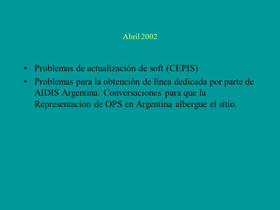 Abril 2002 Problemas de actualización de soft (CEPIS) Problemas para la obtención de línea dedicada por parte de AIDIS Argentina.