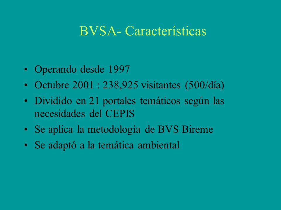 BVSA- Características Operando desde 1997 Octubre 2001 : 238,925 visitantes (500/día) Dividido en 21 portales temáticos según las necesidades del CEPIS Se aplica la metodología de BVS Bireme Se adaptó a la temática ambiental