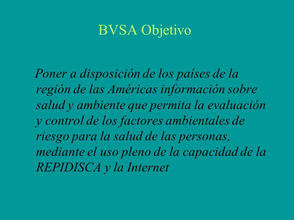 BVSA Objetivo Poner a disposición de los países de la región de las Américas información sobre salud y ambiente que permita la evaluación y control de los factores ambientales de riesgo para la salud de las personas, mediante el uso pleno de la capacidad de la REPIDISCA y la Internet