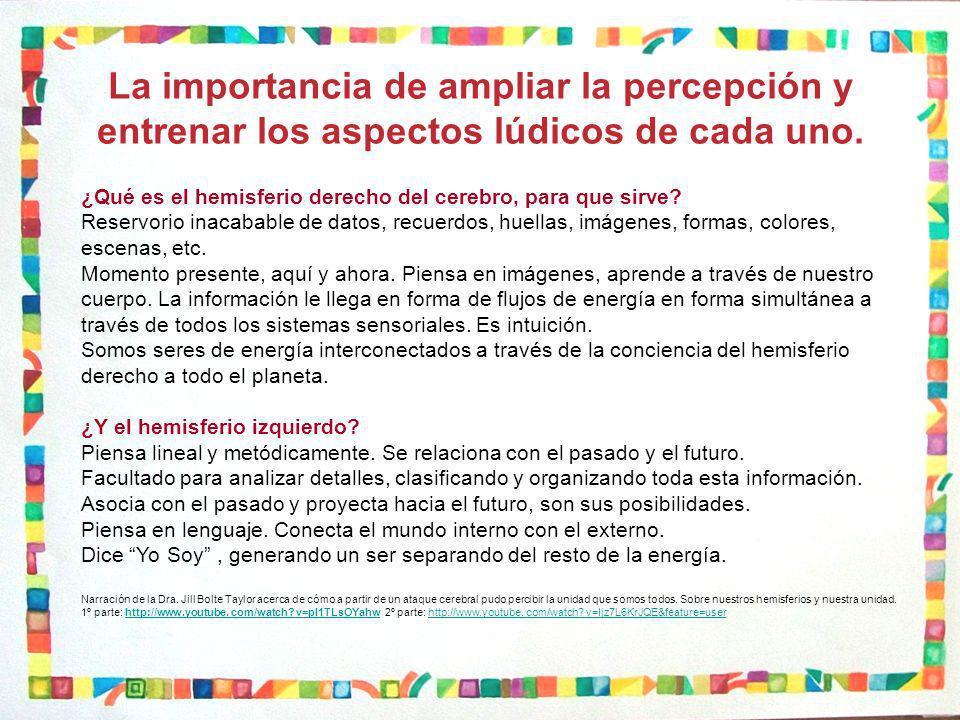 La importancia de ampliar la percepción y entrenar los aspectos lúdicos de cada uno.