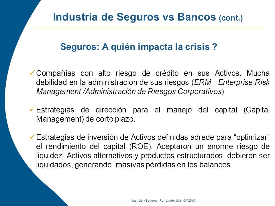 Justicia y Seguros - Fort Lauderdale- 06/ 2010 Industria de Seguros vs Bancos (cont.) Compañías con alto riesgo de crédito en sus Activos.
