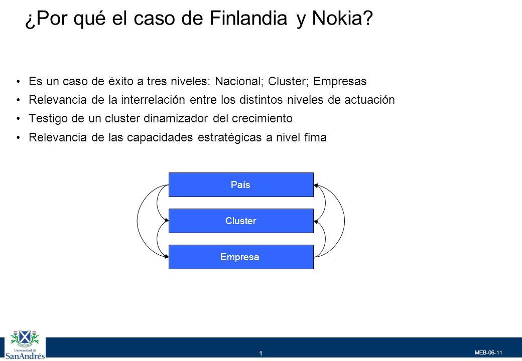 MEB-06-11 1 ¿Por qué el caso de Finlandia y Nokia? Es un caso de éxito a tres niveles: Nacional; Cluster; Empresas Relevancia de la interrelación entr
