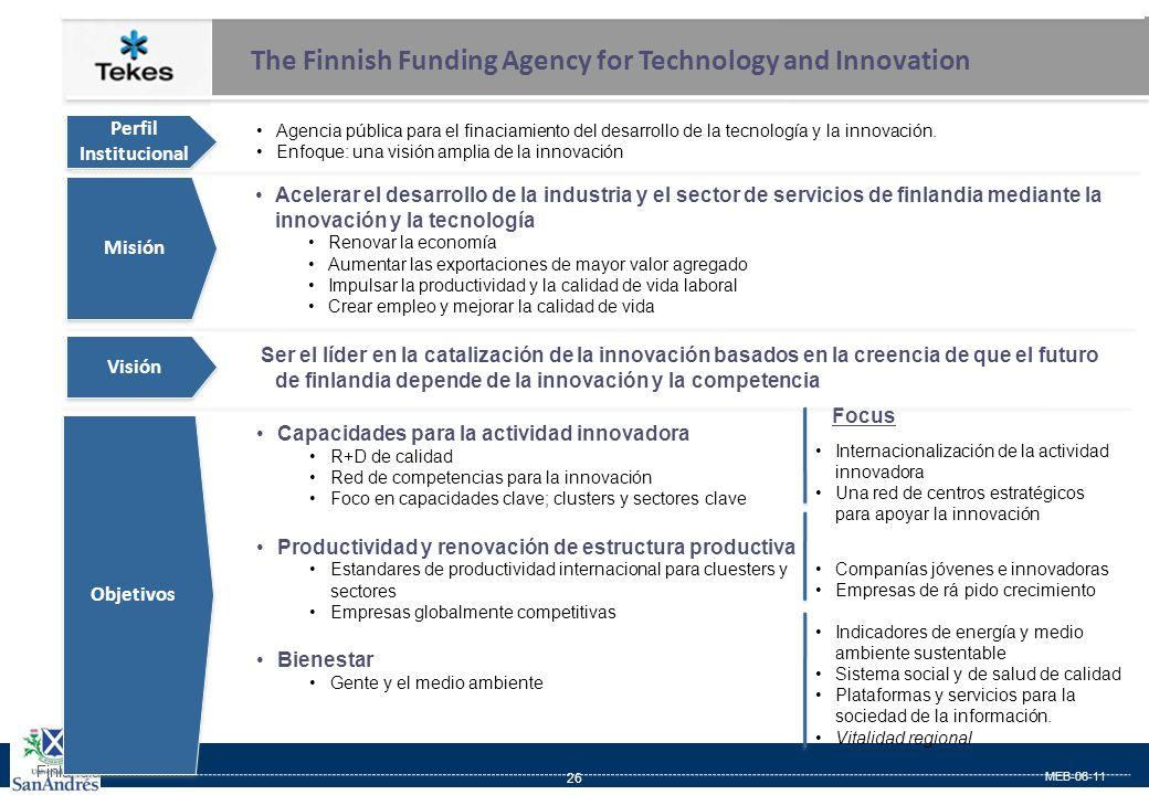 MEB-06-11 26 Finlandia Capacidades para la actividad innovadora R+D de calidad Red de competencias para la innovación Foco en capacidades clave; clusters y sectores clave Productividad y renovación de estructura productiva Estandares de productividad internacional para cluesters y sectores Empresas globalmente competitivas Bienestar Gente y el medio ambiente Acelerar el desarrollo de la industria y el sector de servicios de finlandia mediante la innovación y la tecnología Renovar la economía Aumentar las exportaciones de mayor valor agregado Impulsar la productividad y la calidad de vida laboral Crear empleo y mejorar la calidad de vida Misión Visión Objetivos Ser el líder en la catalización de la innovación basados en la creencia de que el futuro de finlandia depende de la innovación y la competencia Internacionalización de la actividad innovadora Una red de centros estratégicos para apoyar la innovación Companías jóvenes e innovadoras Empresas de rá pido crecimiento Indicadores de energía y medio ambiente sustentable Sistema social y de salud de calidad Plataformas y servicios para la sociedad de la información.