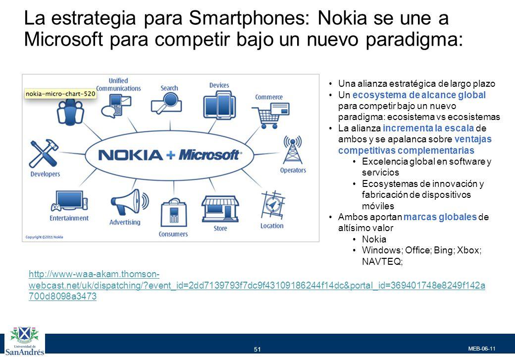 MEB-06-11 51 La estrategia para Smartphones: Nokia se une a Microsoft para competir bajo un nuevo paradigma: Una alianza estratégica de largo plazo Un ecosystema de alcance global para competir bajo un nuevo paradigma: ecosistema vs ecosistemas La alianza incrementa la escala de ambos y se apalanca sobre ventajas competitivas complementarias Excelencia global en software y servicios Ecosystemas de innovación y fabricación de dispositivos móviles Ambos aportan marcas globales de altísimo valor Nokia Windows; Office; Bing; Xbox; NAVTEQ; http://www-waa-akam.thomson- webcast.net/uk/dispatching/?event_id=2dd7139793f7dc9f43109186244f14dc&portal_id=369401748e8249f142a 700d8098a3473