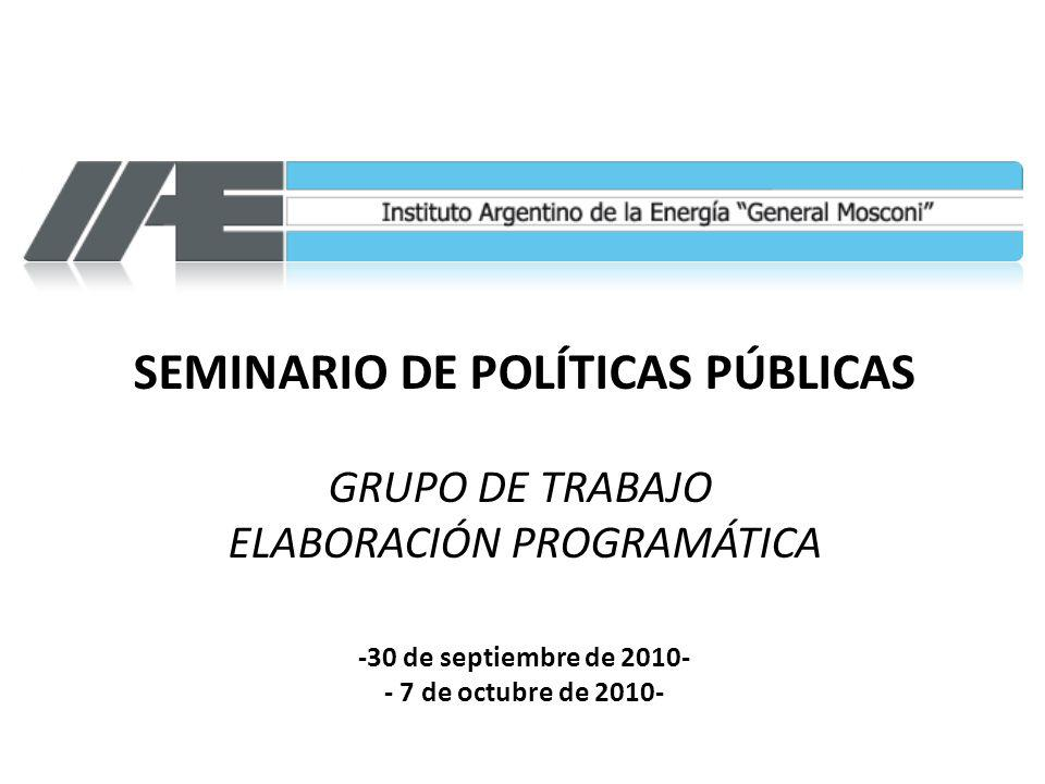 SEMINARIO DE POLÍTICAS PÚBLICAS GRUPO DE TRABAJO ELABORACIÓN PROGRAMÁTICA -30 de septiembre de 2010- - 7 de octubre de 2010-