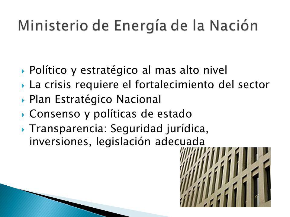 Político y estratégico al mas alto nivel La crisis requiere el fortalecimiento del sector Plan Estratégico Nacional Consenso y políticas de estado Transparencia: Seguridad jurídica, inversiones, legislación adecuada