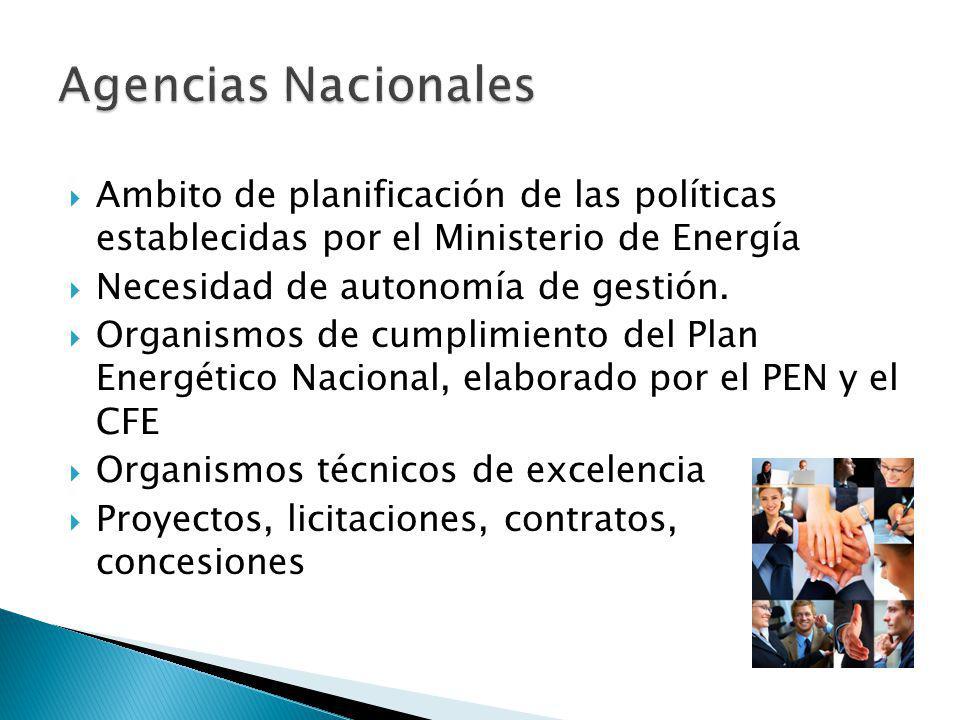 Ambito de planificación de las políticas establecidas por el Ministerio de Energía Necesidad de autonomía de gestión.