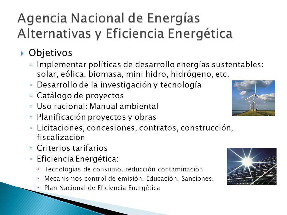 Objetivos Implementar políticas de desarrollo energías sustentables: solar, eólica, biomasa, mini hidro, hidrógeno, etc.