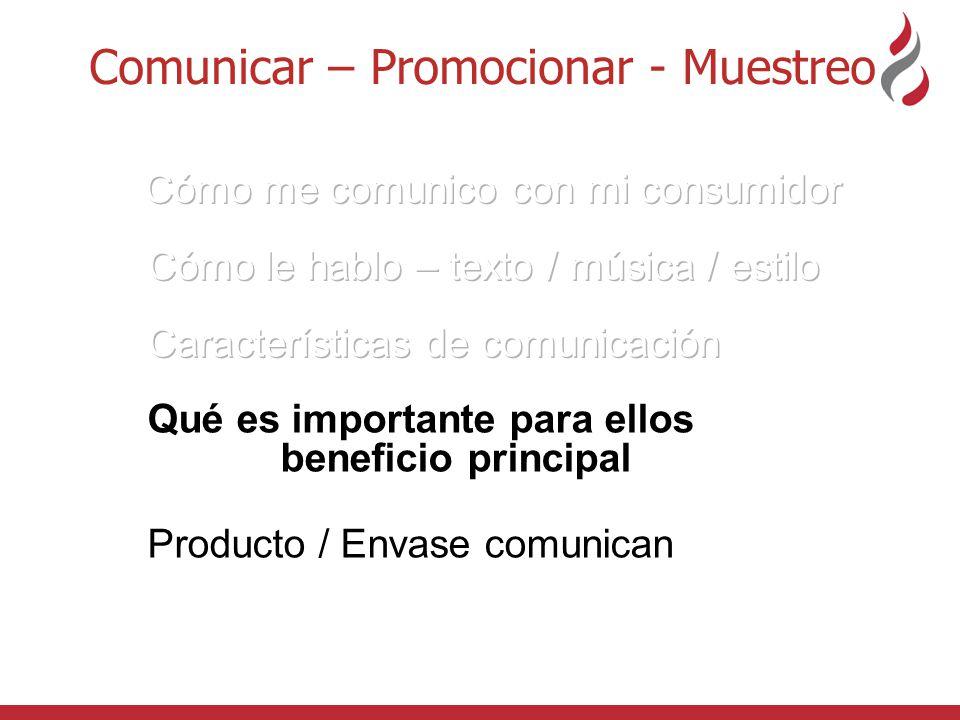 Comunicar – Promocionar - Muestreo